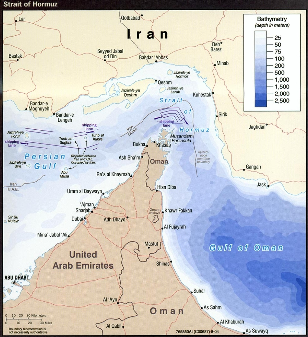 Map of Strait of Hormuz with political boundaries (2004)