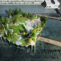 A surreal new NYC waterfront park floats over the Hudson River
